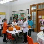 painting pumpkins for art class