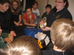 5th and 6th graders were trained in CPR and using the AED by local EMS personnel.
