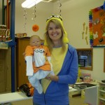 Mrs. Swanson and baby Minion