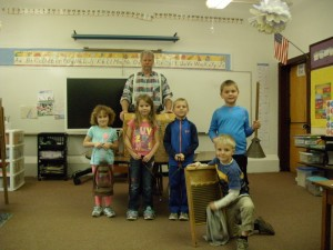 Kindergarten class with guest