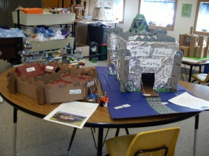 student-build castle replicas
