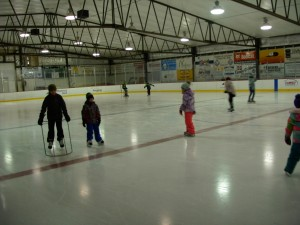 students ice skating
